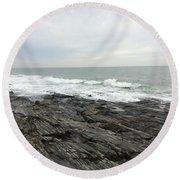 Morning Horizon On The Atlantic Ocean Round Beach Towel