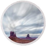 Round Beach Towel featuring the photograph Morning In Monument Valley by Jon Glaser