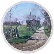 Morning In The Farm Georgetown Round Beach Towel by Ylli Haruni