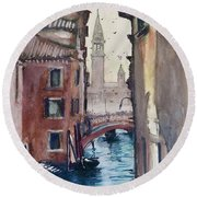 Round Beach Towel featuring the painting Morning In Venice by Geni Gorani