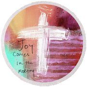 Morning Joy- Abstract Art By Linda Woods Round Beach Towel