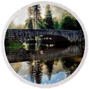 Morning Light Along The Merced River Round Beach Towel