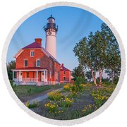 Morning Light At Au Sable Point Round Beach Towel