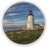 Morning Light At Pemaquid Point Round Beach Towel