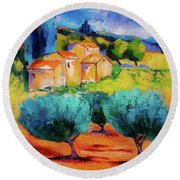 Round Beach Towel featuring the painting Morning Light By Elise Palmigiani by Elise Palmigiani