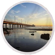 Morning Light Down By The Pier Round Beach Towel