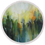 Round Beach Towel featuring the painting Morning Light by Elena Oleniuc