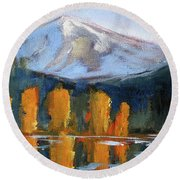 Round Beach Towel featuring the painting Morning Light Mountain Landscape Painting by Nancy Merkle