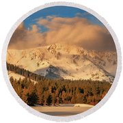 Morning Light On Tallac's Spring Snow Round Beach Towel