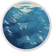 Morning Light On The Southern Alps Round Beach Towel