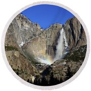 Morning Light On Upper Yosemite Falls In Winter Round Beach Towel