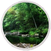 Morning Light On Williams River  Round Beach Towel