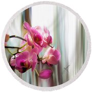 Morning Light Orchids Round Beach Towel