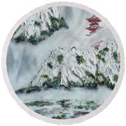 Morning Mist 1 Round Beach Towel