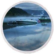 Morning Mist Adams Lake Round Beach Towel by Theresa Tahara