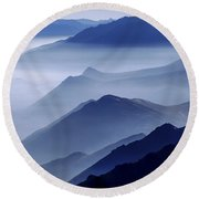 Morning Mist Round Beach Towel by Chad Dutson