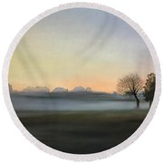 Morning Mist Encounter Round Beach Towel