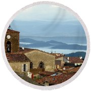 Round Beach Towel featuring the photograph Morning Mist In Provence by Lainie Wrightson