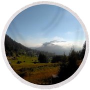 Morning Mist In The Magical Valley Round Beach Towel
