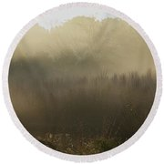 Morning Mist On The Trail Round Beach Towel