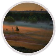Morning Mist Over Dyarna #h7 Round Beach Towel