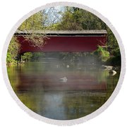 Morning Mist Round Beach Towel by Skip Willits