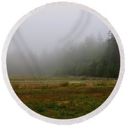 Round Beach Towel featuring the photograph Morning Mist Solitude by Tikvah's Hope
