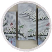 Morning Mist Triptych Round Beach Towel