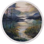 Morning Mountain Cove Round Beach Towel