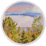 Morning Mountain View Northern New Hampshire. Round Beach Towel