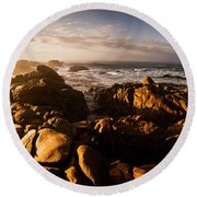 Round Beach Towel featuring the photograph Morning Ocean Panorama by Jorgo Photography - Wall Art Gallery