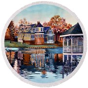 Morning On Silver Lake Round Beach Towel