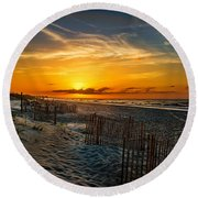 Morning On The Bogue Banks Round Beach Towel