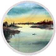 Round Beach Towel featuring the painting Morning On The Lake by Sam Sidders