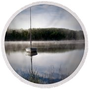 Morning On White Sand Lake Round Beach Towel