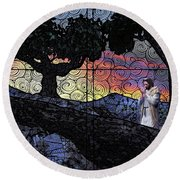 Round Beach Towel featuring the painting Morning Prayer Transcendent by Dave Luebbert