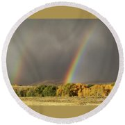 Round Beach Towel featuring the photograph Morning Rainbow In Wyoming by Dawn Senior-Trask