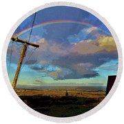 Morning Rainbow Over Kalaupapa Round Beach Towel by Craig Wood