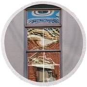 Round Beach Towel featuring the photograph Morning Reflection In Window by Gary Slawsky