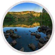 Morning Reflection On Castle Lake Round Beach Towel