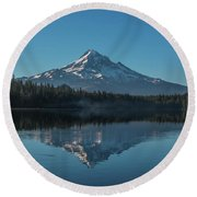 Morning Reflections Of Mount Hood Round Beach Towel