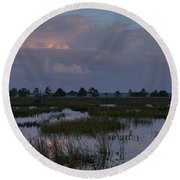 Morning Reflections Over The Wetlands Round Beach Towel
