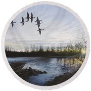 Morning Retreat - Pintails Round Beach Towel