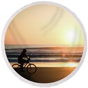 Morning Ride Round Beach Towel