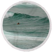 Round Beach Towel featuring the photograph Morning Ride by Evelyn Tambour