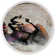 Round Beach Towel featuring the photograph Morning Roll by Norman Peay