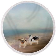 Morning Run At The Beach Round Beach Towel