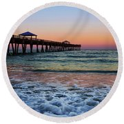 Round Beach Towel featuring the photograph Morning Rush by Laura Fasulo