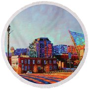 Morning Rush - The Corner Of Salem Avenue And Williamson Road In Roanoke Virginia Round Beach Towel