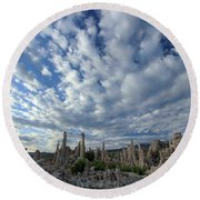 Round Beach Towel featuring the photograph Morning Skies Over Tufa by Sean Sarsfield